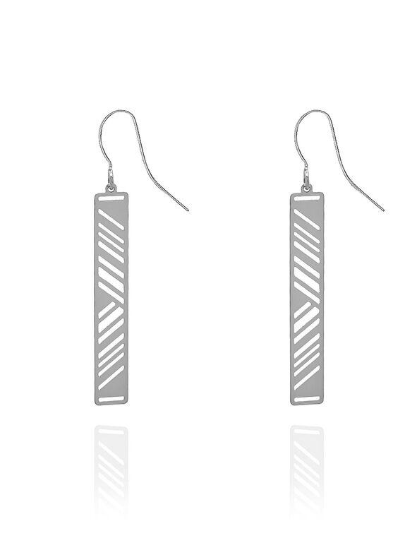 Silver Geo Laser Cut Earring, Silver, hi-res