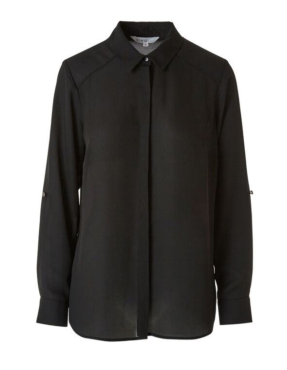 Classic Black Button Down Blouse, Black, hi-res