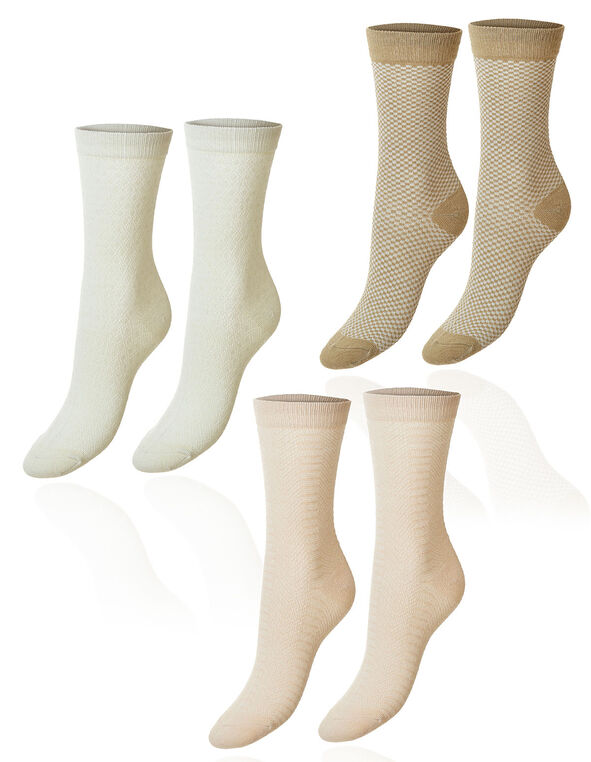 Neutral Tall Crew Sock 3 Pack, Neutral, hi-res