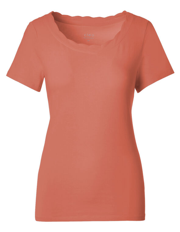 Apricot Scalloped Tee, Apricot, hi-res