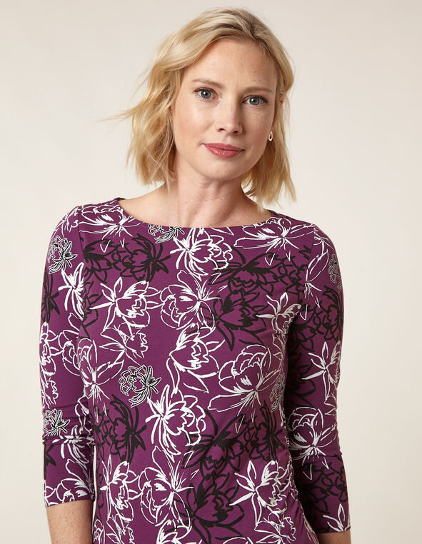 Berry Print Side Ruched Tee, Plum, hi-res