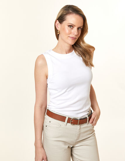 White Button Tee, White, hi-res