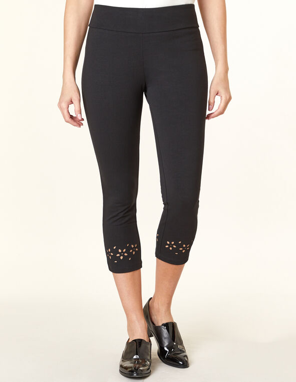 Black Floral Capri Legging, Black, hi-res