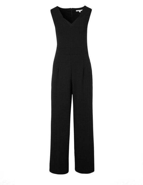 Black Scuba Crepe Jumpsuit, Black, hi-res