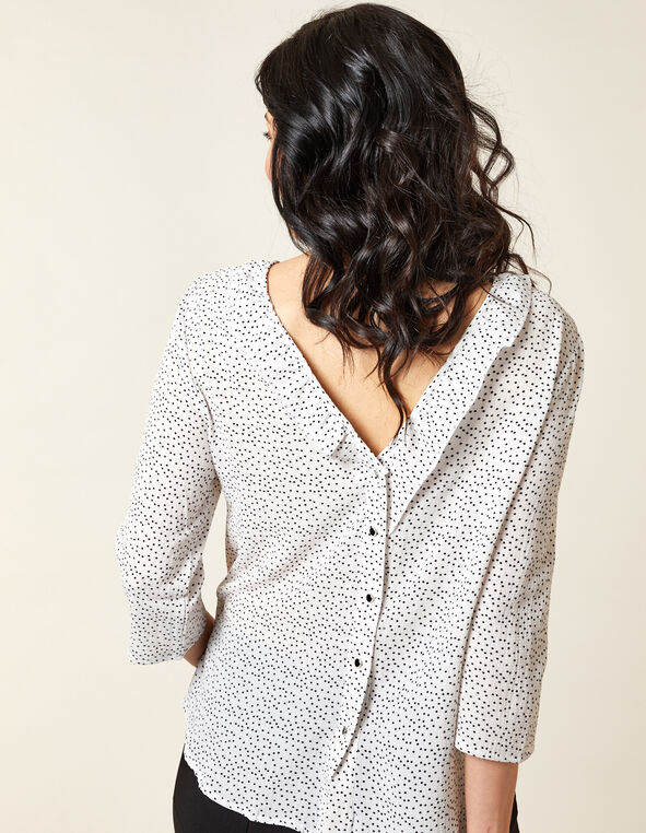 Ivory Button Back Blouse, Ivory, hi-res