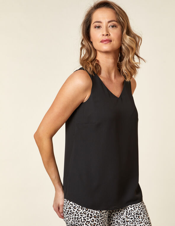 Sleeveless Woven Blouse, Black, hi-res