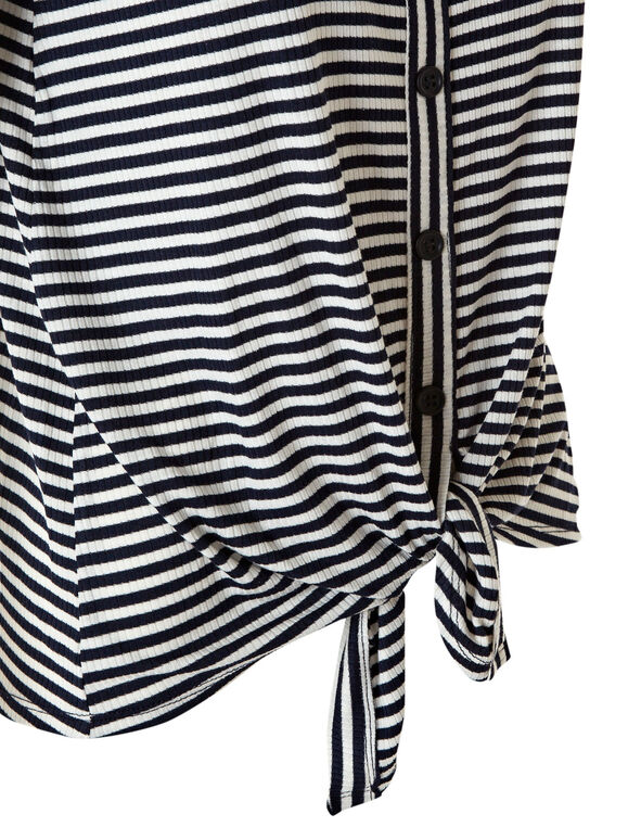 Navy Striped Front Tie Top, White/Navy, hi-res