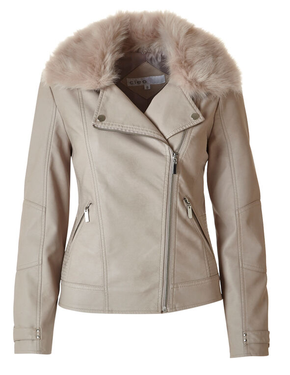 Pale Pink Moto Faux Leather Jacket, Soft Pink, hi-res