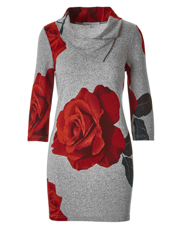 Grey Rose Print Hacchi Tunic, Grey, hi-res