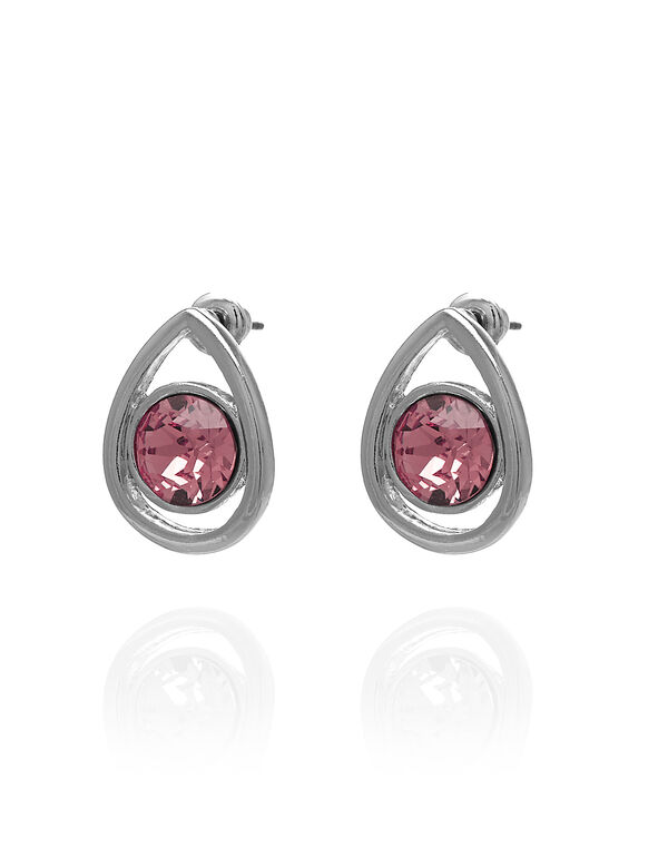 Silver Pink Pear Stud Earring, Pink/Silver, hi-res