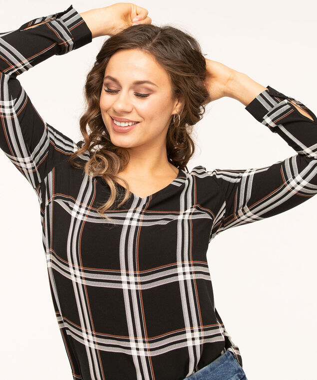 Black Plaid V-Neck Blouse, Black/Ivory/Brown, hi-res
