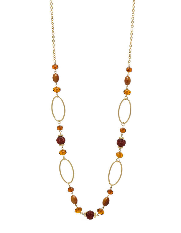 Long Gold Beaded Chain Necklace, Brown, hi-res