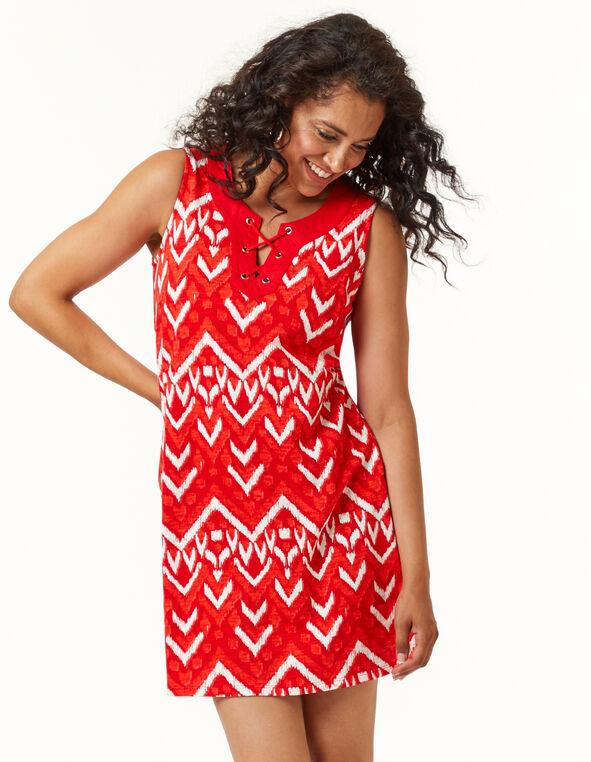 Cajun Tie Neck Slub Dress, Red, hi-res