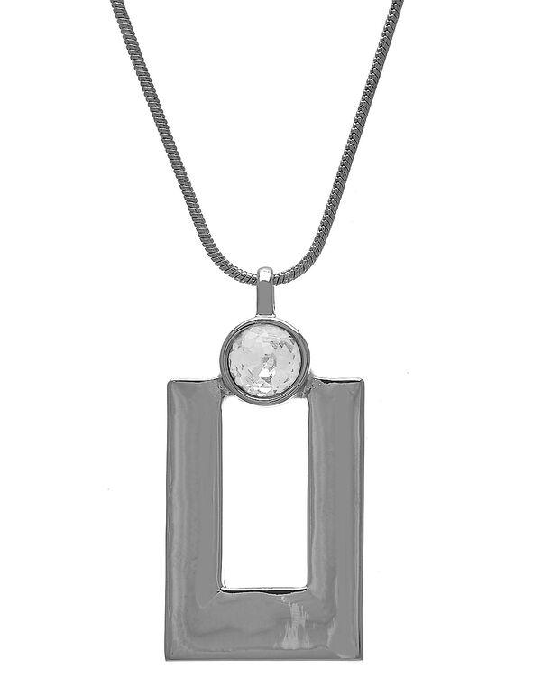 Silver Rectangular Pendant Necklace, Silver, hi-res