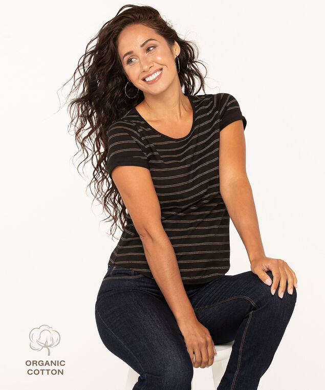 Scoop Neck Organic Cotton Tee, Black/Camel, hi-res