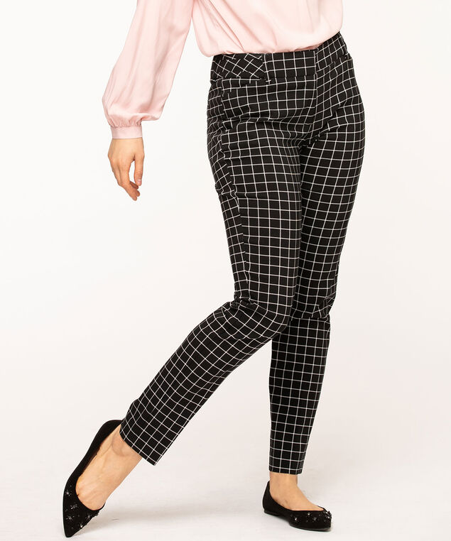 Windowpane Plaid Slim Leg Pant, Black/Ivory Plaid