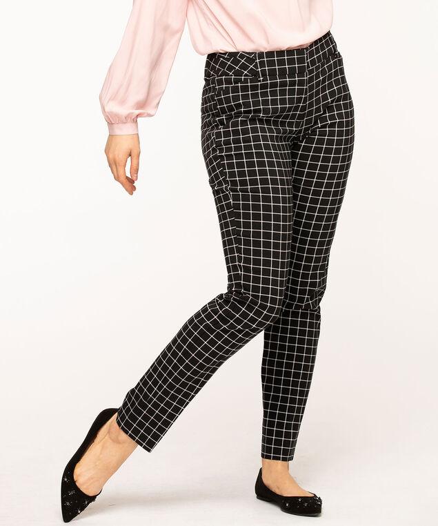 Windowpane Plaid Slim Leg Pant, Black/Ivory Plaid