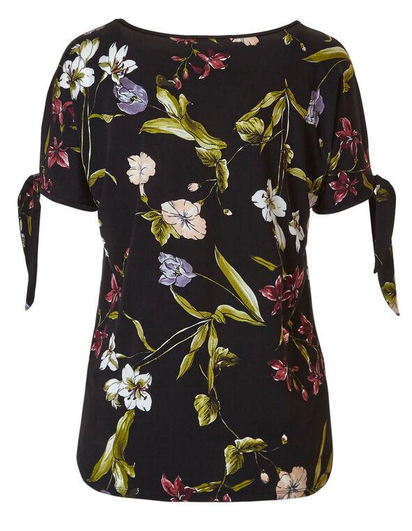 Black Floral Tie Sleeve Top, Black Floral, hi-res