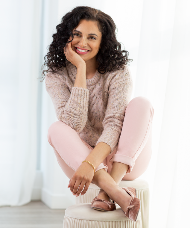 Pink Cable Knit Sweater Look,