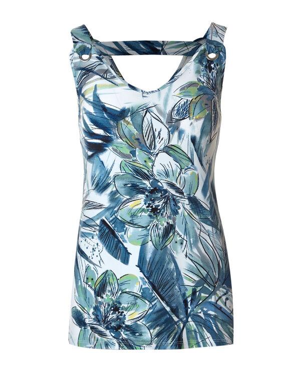 Blue Tropical Sleeveless Top, Blue/Green, hi-res