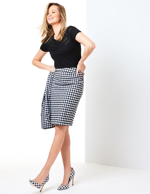 Gingham Pencil Skirt Look, , hi-res