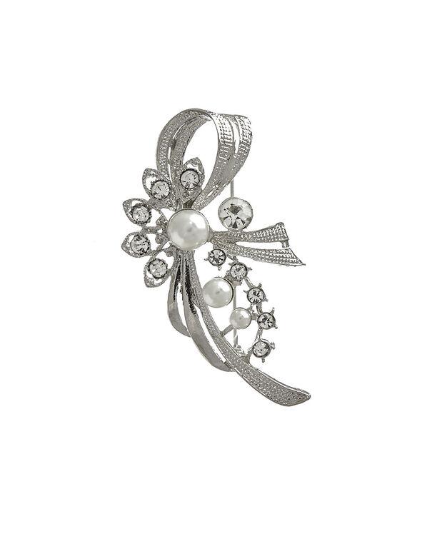 Pearl and Crystal Pin, Silver, hi-res