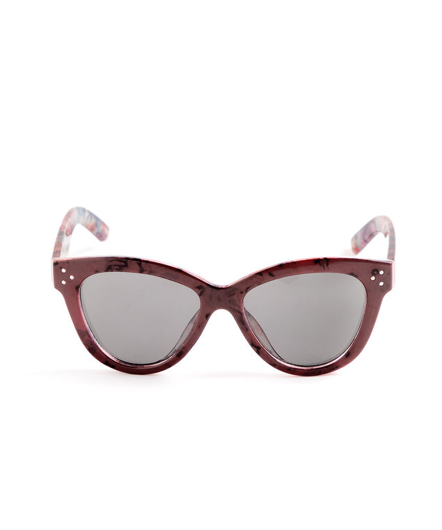 Red Floral Cateye Sunglasses, Red