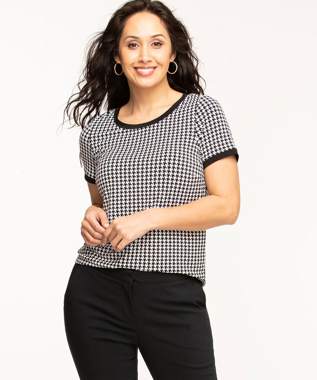 Short Sleeve Back Button Top, Black/White Houndstooth