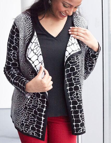 Snake Print Sweater Coat, Black, hi-res