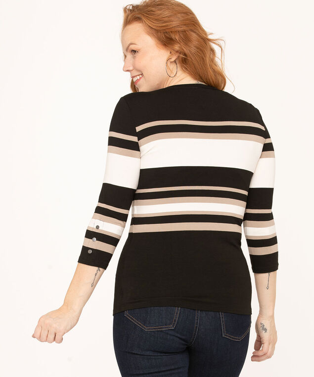 Striped Boat Neck Top, Black/Ivory/Sand, hi-res