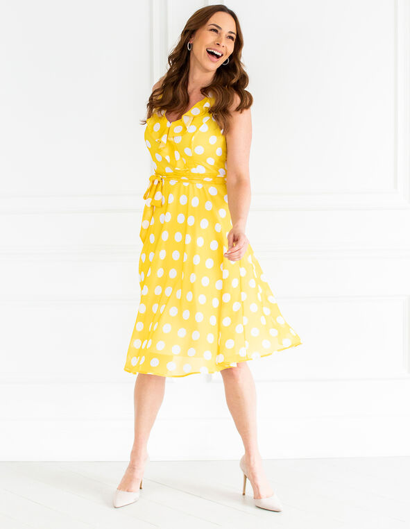 Sunshine Dotted Fit & Flare Dress, Sunshine, hi-res