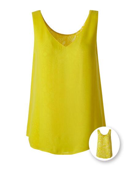 Yellow Reversible Neck Blouse, Yellow, hi-res