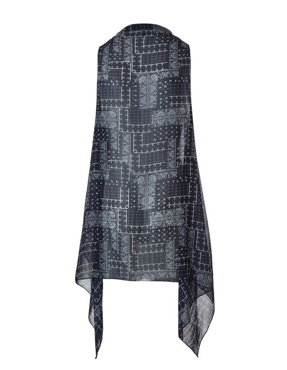 Navy Printed Kimono, Navy, hi-res