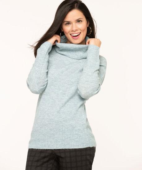 Light Blue Ribbed Turtleneck Sweater, Light Blue, hi-res