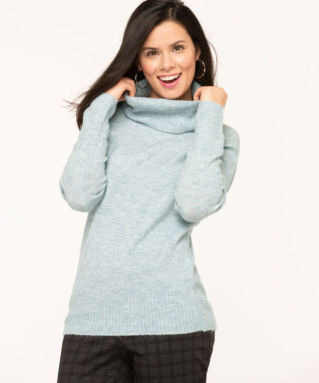 Light Blue Ribbed Turtleneck Sweater, Light Blue, hi-res