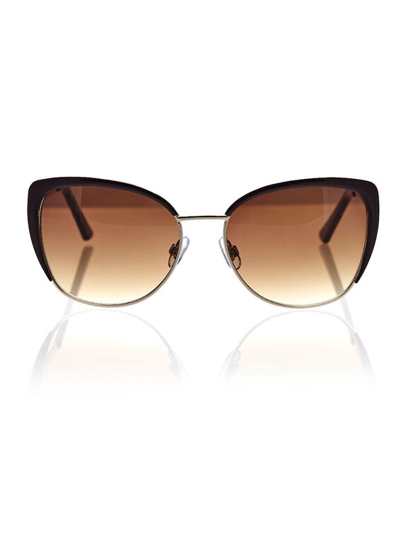Brown Wire Frame Sunglasses, Brown, hi-res