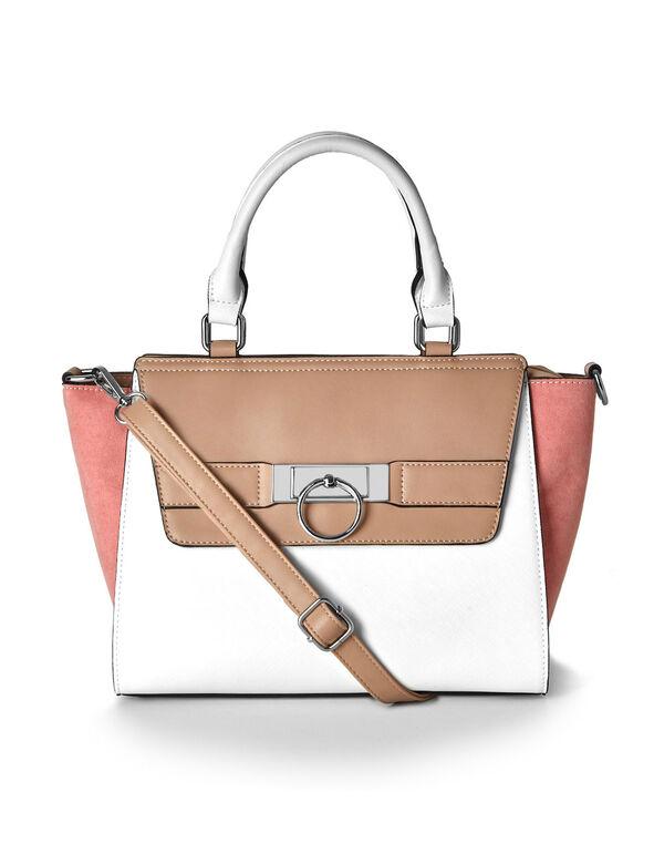 Colour Blocked Winged Handbag, Brown/White/Coral, hi-res