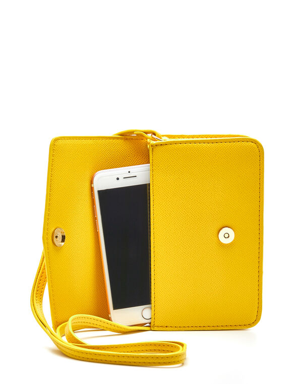 Yellow Phone Case Crossbody Bag, Yellow, hi-res