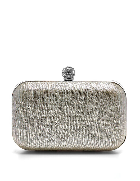Champagne Boxed Satin Clutch, Champagne, hi-res