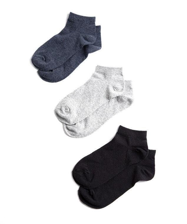 Navy/Black/Grey Ankle Sock 3-Pack, Black/Grey/Navy