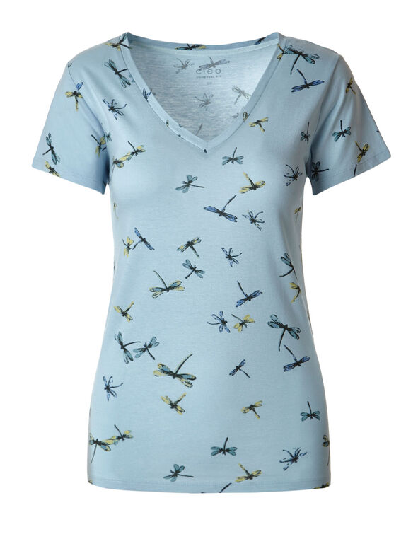 Blue Dragonfly V-Neck Tee, Blue, hi-res