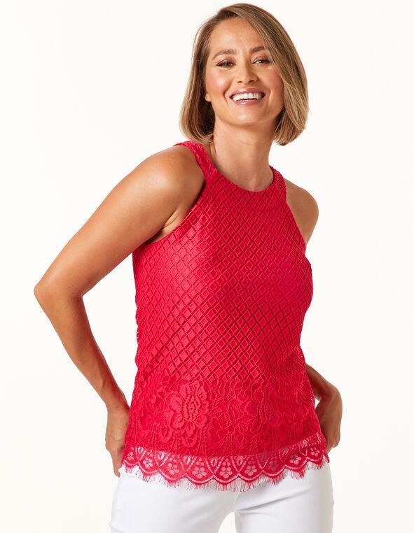 Hibiscus Knit Halter Top, Pink, hi-res