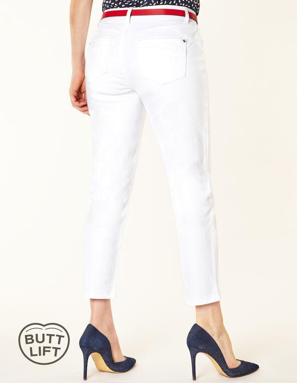 White Butt Lift Slim Ankle Jean, White, hi-res