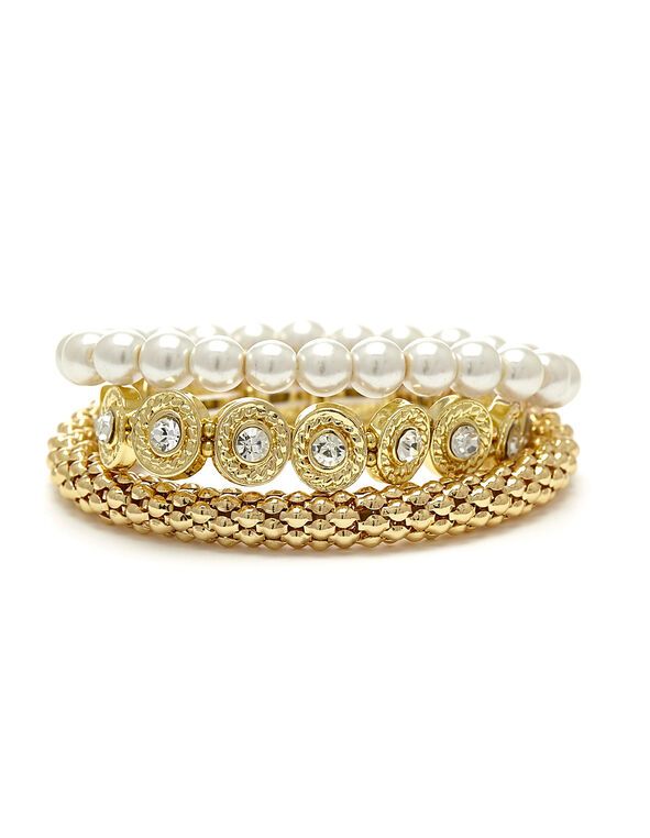 Crystal and Pearls Bracelet Set, Gold, hi-res