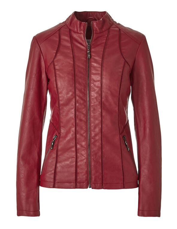 Red Faux Leather Jacket, Red, hi-res