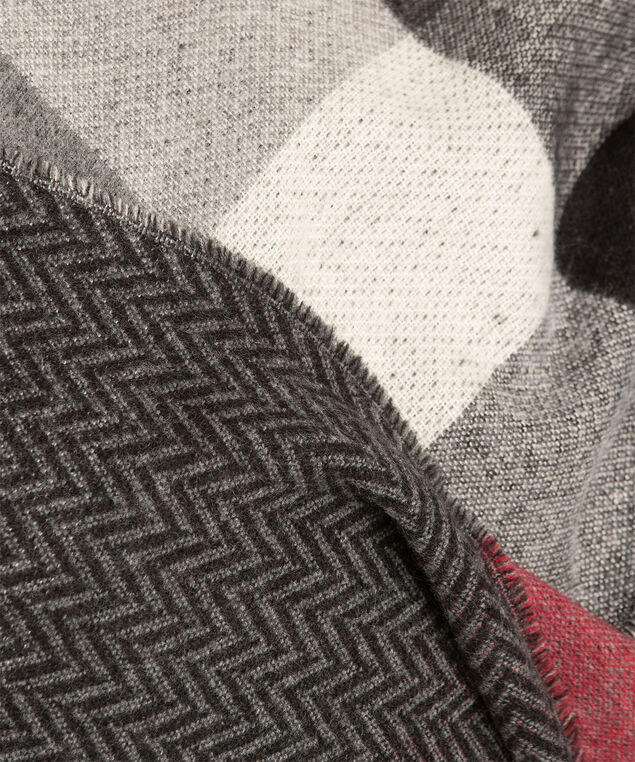 Plaid/Herringbone Double Face Scarf, Red/Light Grey/Grey, hi-res
