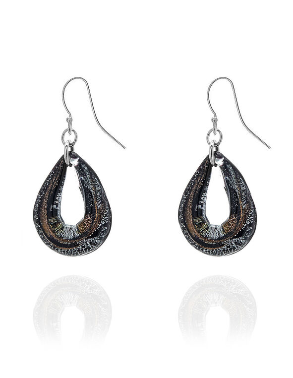 Black Murano Glass Earring, Black, hi-res