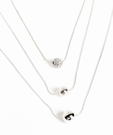 Silver Layered Pendant Necklace, Silver, hi-res