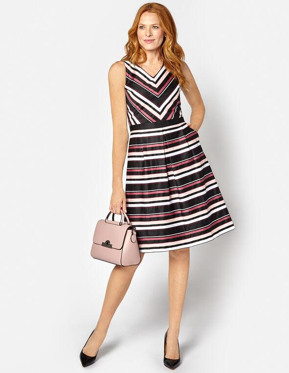Pink Stripe Fit & Flare Dress, Pink/Sangria, hi-res