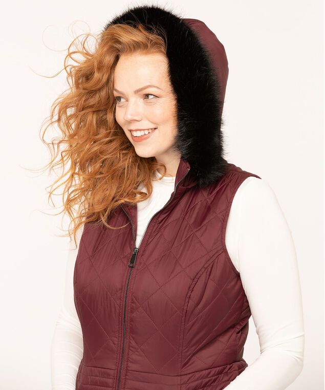 Mulberry Hooded Quilted Vest, Mulberry, hi-res